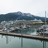 Cruise ship docks in Skagway, Alaska.