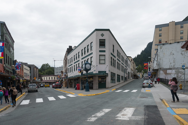 Streets and stores of downtown Juneau, Alaska.