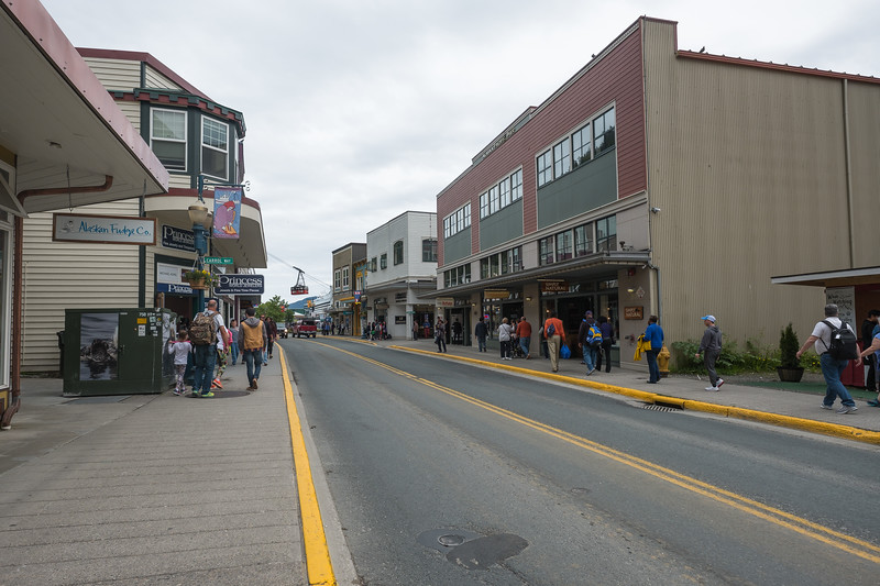 Downtown Juneau with a Cable Car in the background, Juneau, Alaska.