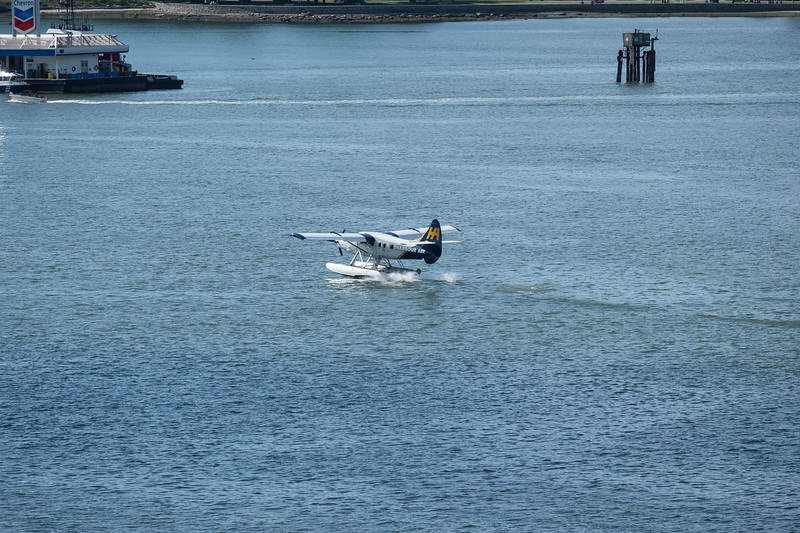 Float Plane touched down into the Strait of Georgia in Vancouver, B.C., Harbor.
