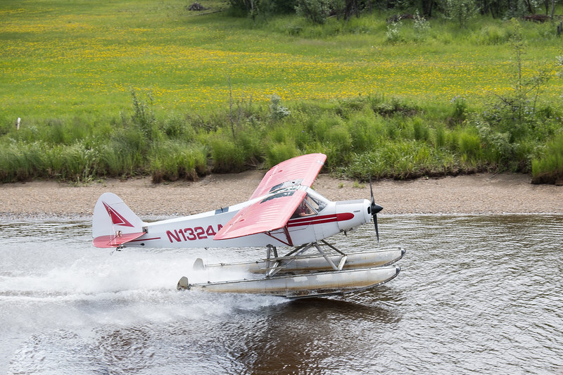 Float plane demonstration for the Riverboat Discovery passengers in Fairbanks, Alaska.
