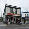 Street view of the Red Onion Saloon, downtown Skagway, Alaska.