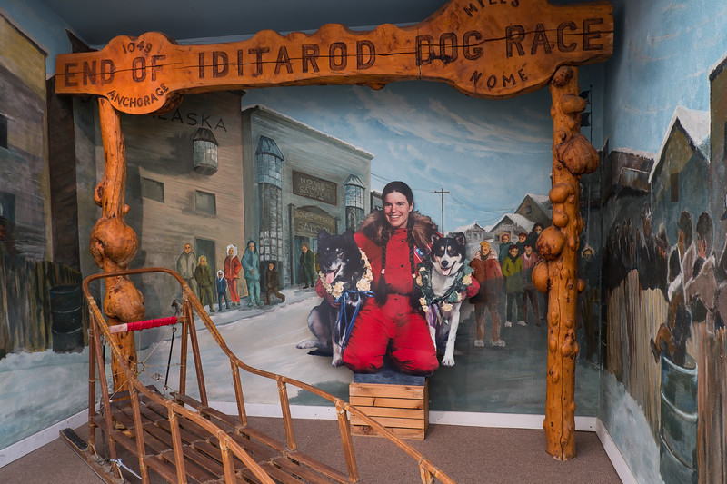 Famous Iditarod musher display at the Riverboat Discovery Center, Fairbanks, Alaska.