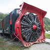 Railroad snow blower on display in Skagway, Alaska.