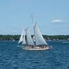 Twin mast sailing ship just outside Bath Harbor, Maine.