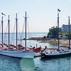 Old sailing ships docked in Bar Harbor, Maine.