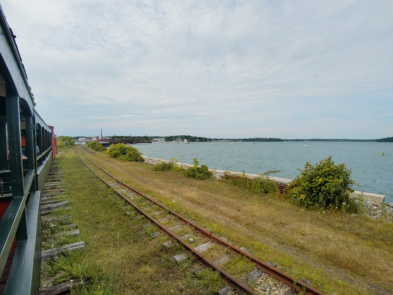 Riding the narrow gauge railroad in Portland, Maine.