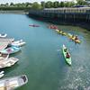 Kayaks in Rockland Harbor, Maine.
