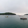 Near dawn panorama of Lobster Fishing Boats in Harbor at Bar Harbor, Maine.