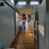 Inside a narrow gauge railroad car in Portland.