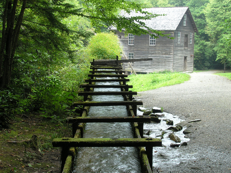 Water troughs feed the power to Mingus Mill.