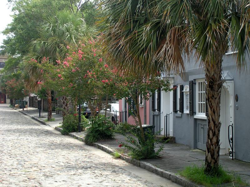 Cobblestone residence street in Historic Charleston.