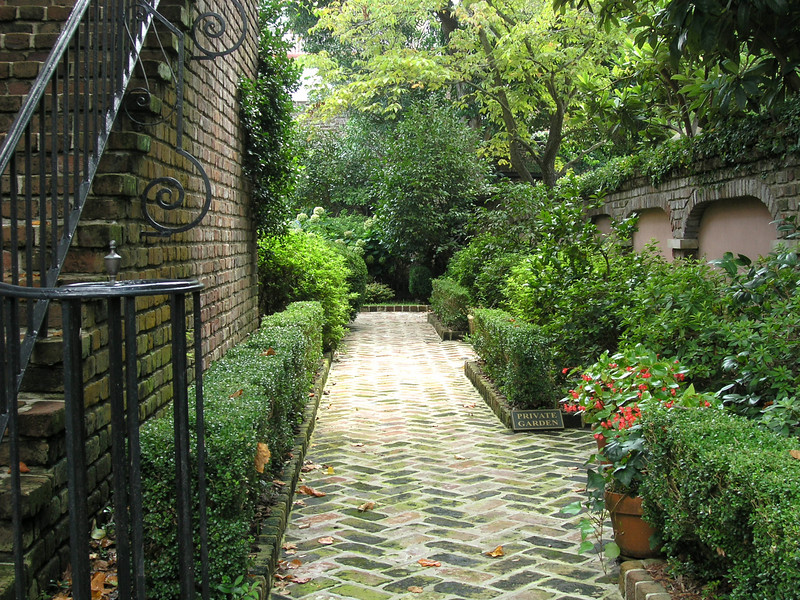 Private home garden areas in Charleston's Historic District.