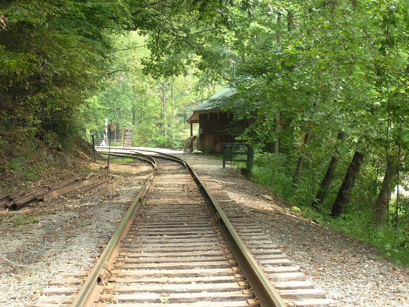 Tracks for the Smoky Mountain Railroad near the Nantahala Outdoor Center.