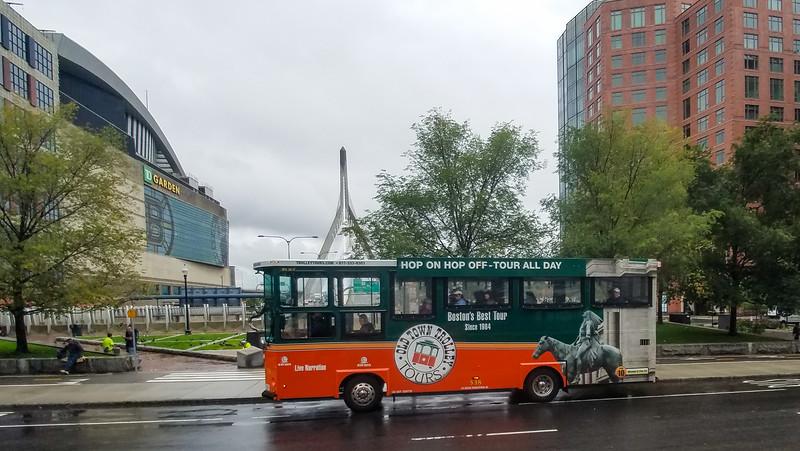 Hop On - Hop Off Trolley near the Boston Garden.  Boston, Mass.