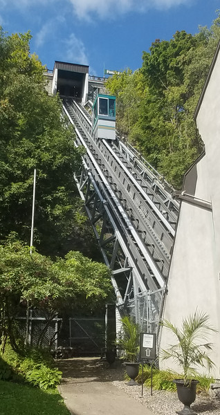 View of the Funicular from Old City Quebec to town from Old City, Quebec, Canada.