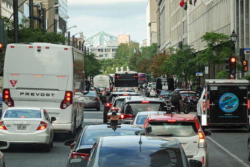 Montreal downtown traffic, Quebec, Canada.