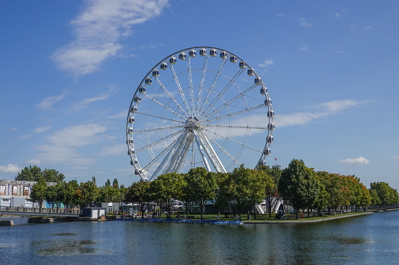 Sky wheel in the Historic Waterfront of Montreal, Quebec, Canada.
