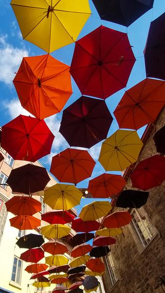Umbrella Art in the Old Town of Quebec, Quebec, Canada.