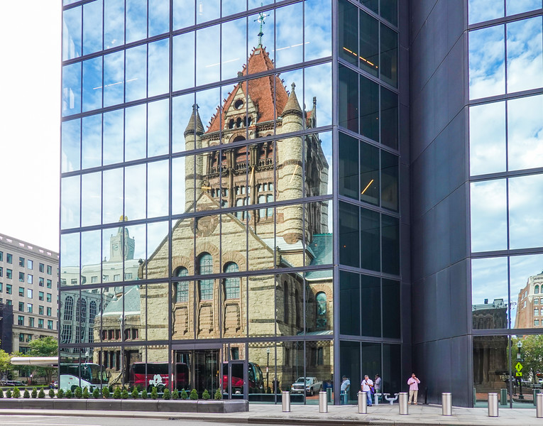 Church of the Covenant reflected in the John Hancock Tower, Boston, Mass.