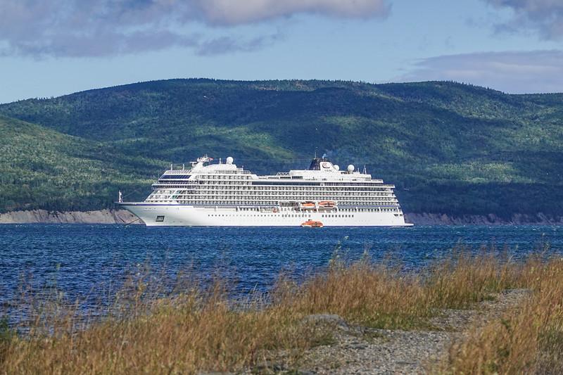 Viking Sea at Anchor outside Gaspe, Quebec, Canada.