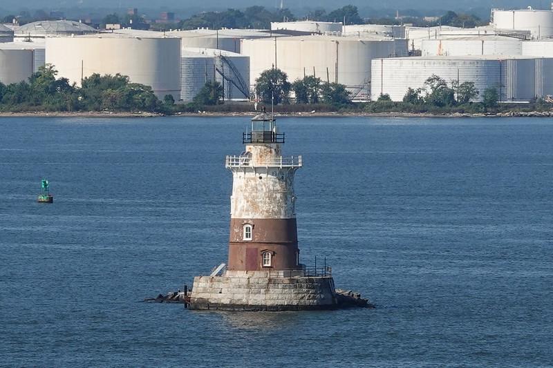 Old Harbor Lighthouse, NYC Harbor, NY, USA.