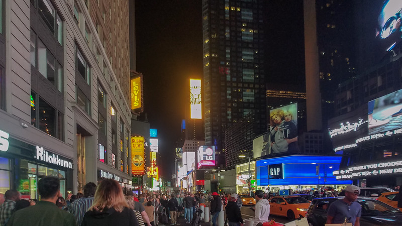 Times Square in NYC at night.