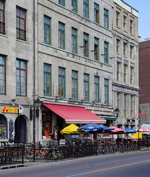 Waterfront streets of downtown Montreal, Quebec, Canada.