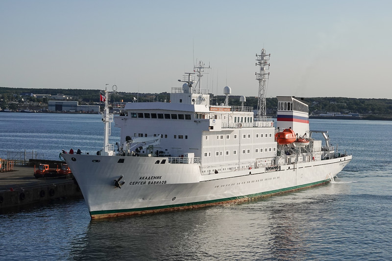 Soviet Spy Ship, the Akademik Sergey Vavilov, docking next to the Viking Sea in the Port of Halifax, Nova Scotia, Canada.