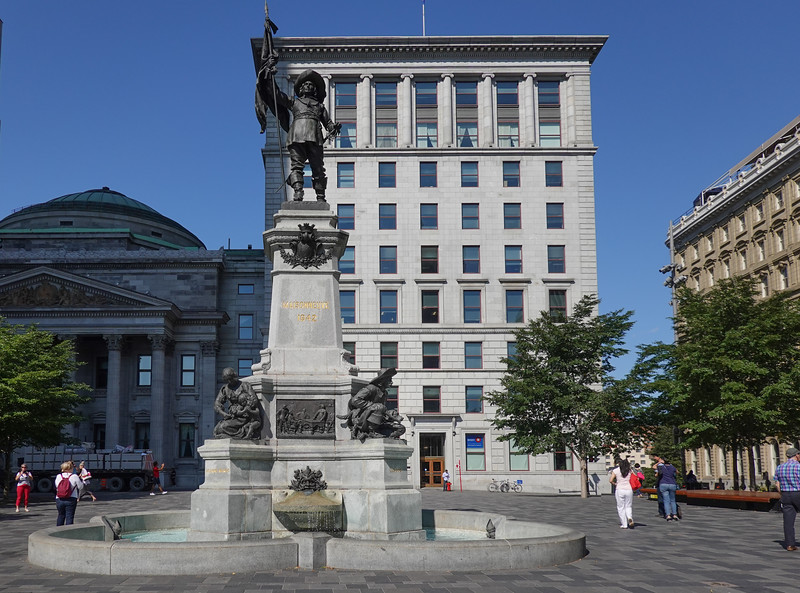 Statue at the Place d'Armes, Old Montreal, Quebec, Canada.