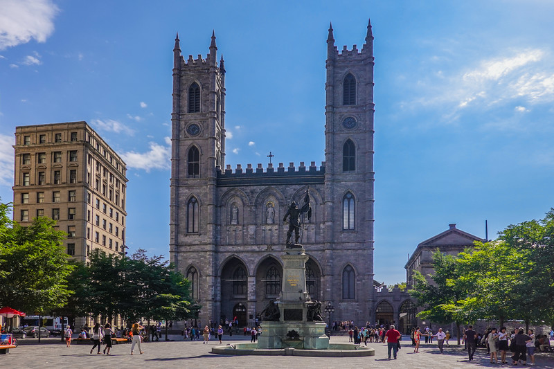 The Notre-Dame Basilica Church in downtown Montreal, Quebec, Canada.