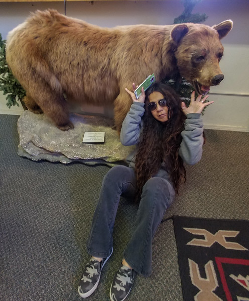 Pla and a bear in Pendleton, OR.