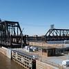 Going through Lock No. 15 with bridge rotation leaving Davenport, Iowa.