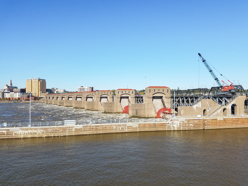 The Dam and waterflow side of Lock and Dam No. 15, leaving Davenport, Iowa.
