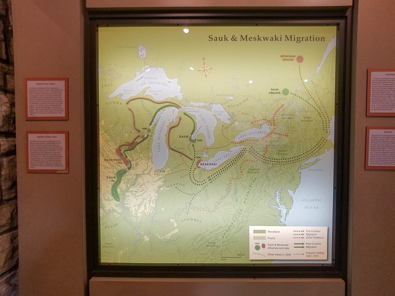 Migration Map of the local Tribes. Black Hawk Historic Site, Davenport, Iowa.