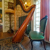 Harp in the Music Room of the Rockcliffe Mansion, Hannibal, Missouri.