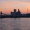 Sunrise on the Mississippi in Saint Louis, Missouri.