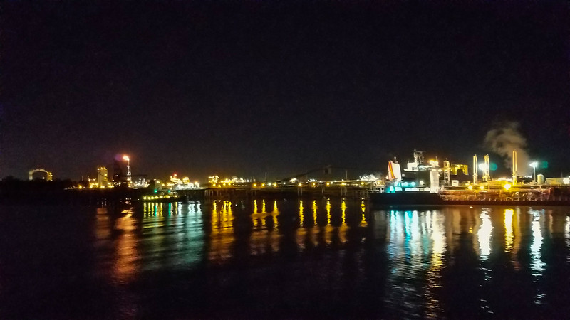 The industrial side of the Mississippi River at night on the way to New orleans.