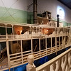 Model of an early riverboat paddle wheeler in the National Mississippi River Museum.