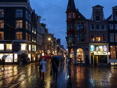 Amsterdam - Night rain urban downtown scene