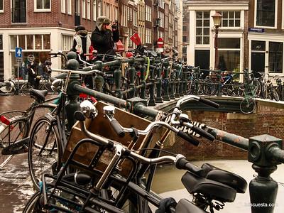 Amsterdam bikes on the bridge
