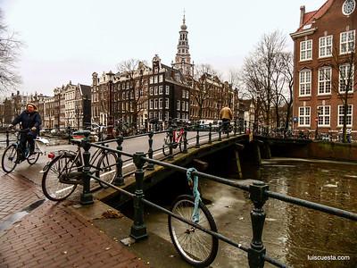 Amsterdam - lonely bike wheel by the bridge