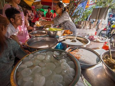 street food in central market Phnom Penh