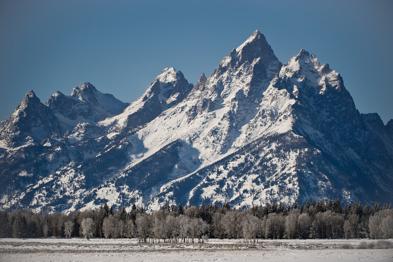 Grand Teton from the road.  Wyoming