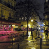 night scene on a rainy day in Paris