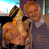 the man and the pin-up girl statue's tit's
