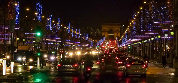 Paris - Christmas traffic jam at the Champs Élysées