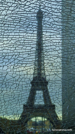 cracked glass view of the Eiffel Tower, Paris