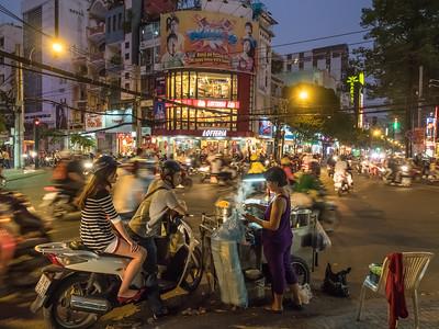 scooter fast food night rush in Saigon