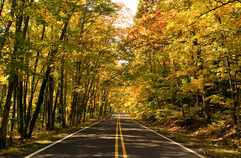 Roadway through the autumn leaves in the Upper Peninsula  Copyright - W. Keith Baum | PhotoCanal.com